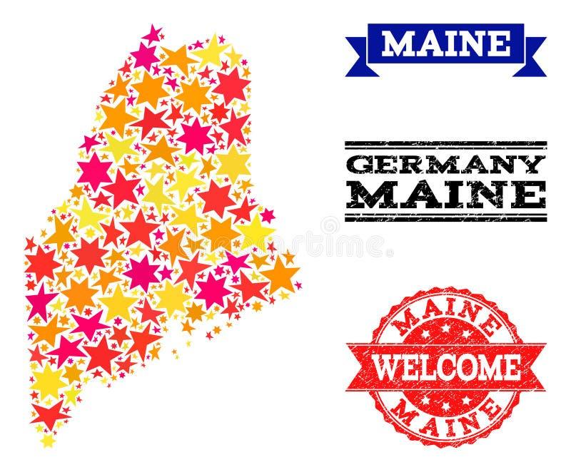 Mapa de mosaico da estrela de filigranas de Maine State e do Grunge ilustração royalty free