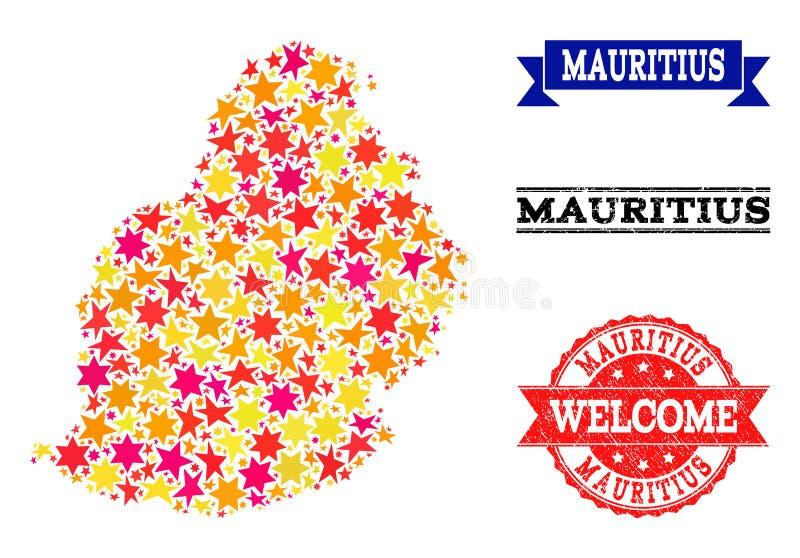 Mapa de mosaico da estrela de Mauritius Island e das filigranas de borracha ilustração stock