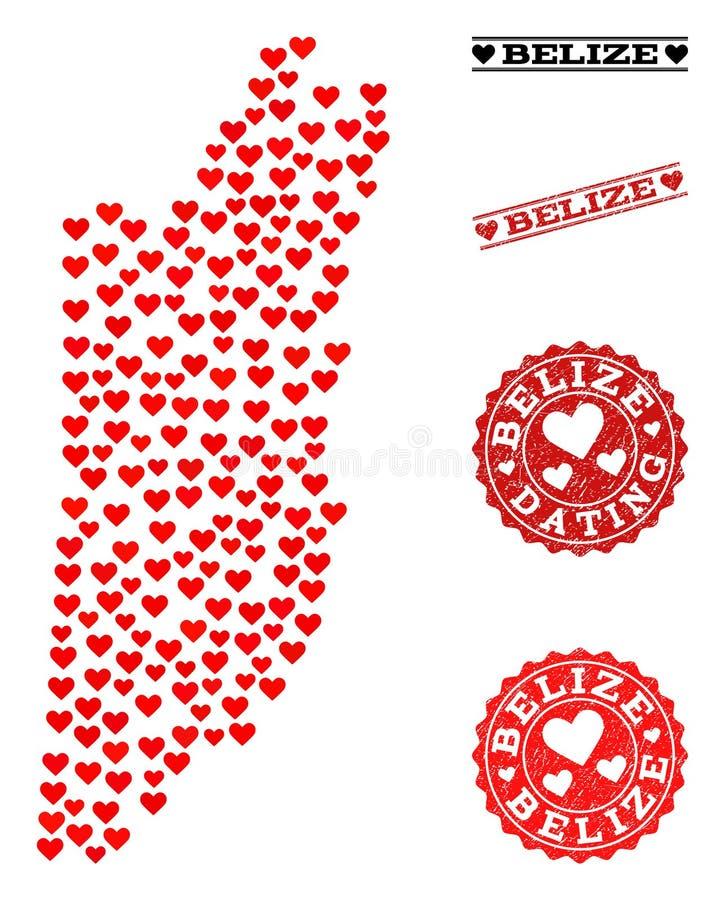 Mapa de mosaico del amor de Belice y de los sellos del Grunge para las tarjetas del día de San Valentín libre illustration
