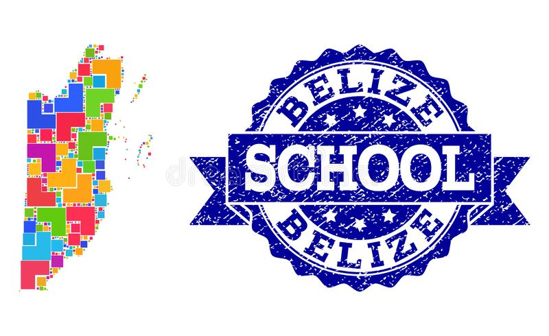 Mapa de mosaico del collage del sello de Belice y de la escuela del Grunge stock de ilustración