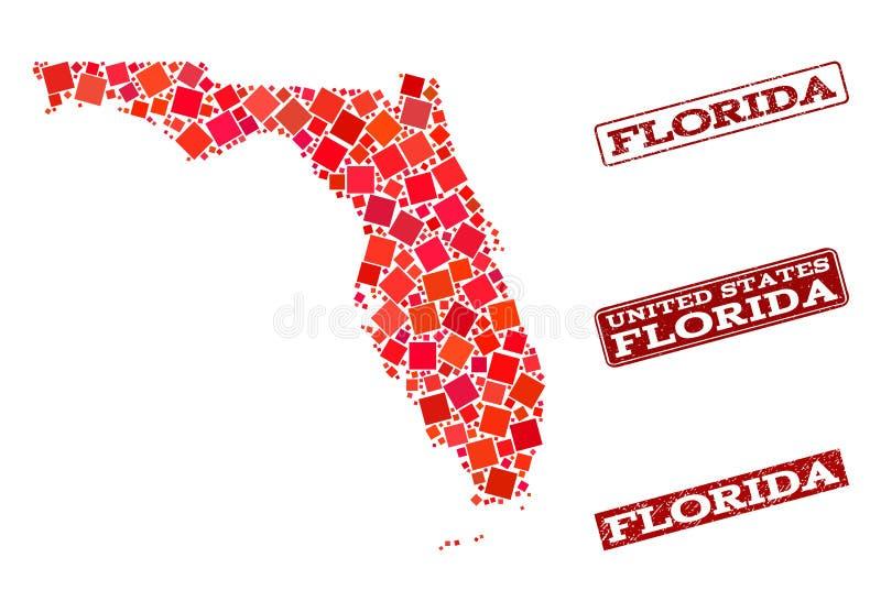 Mapa de mosaico do estado de Florida e de composição Textured do selo da escola ilustração do vetor