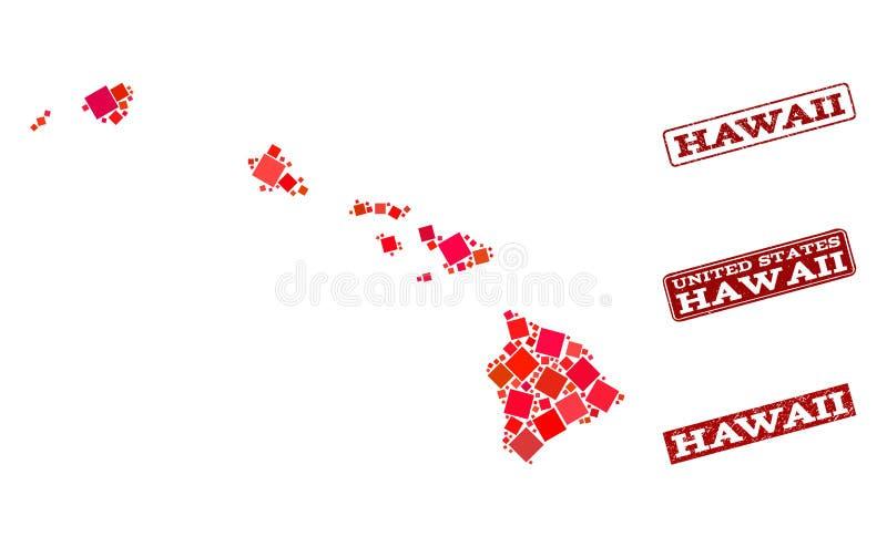 Mapa de mosaico do estado de Hava? e de colagem Textured do selo da escola ilustração royalty free
