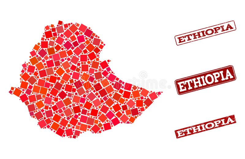 Mapa de mosaico de Eti?pia e da composi??o riscada do selo da escola ilustração stock
