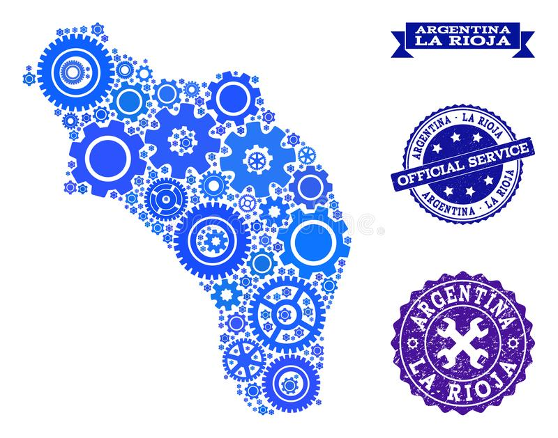 Mapa de mosaico de la Argentina - La Rioja con las ruedas de engranaje y los sellos del Grunge para los servicios ilustración del vector