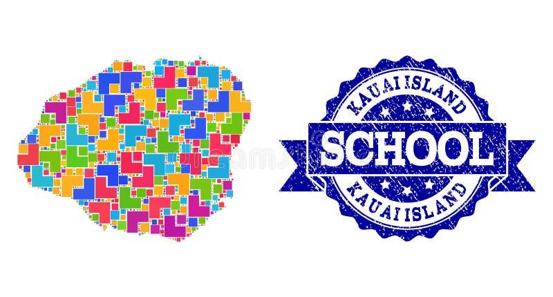 Mapa de mosaico de la composici?n del sello de la isla de Kauai y de la escuela del Grunge ilustración del vector