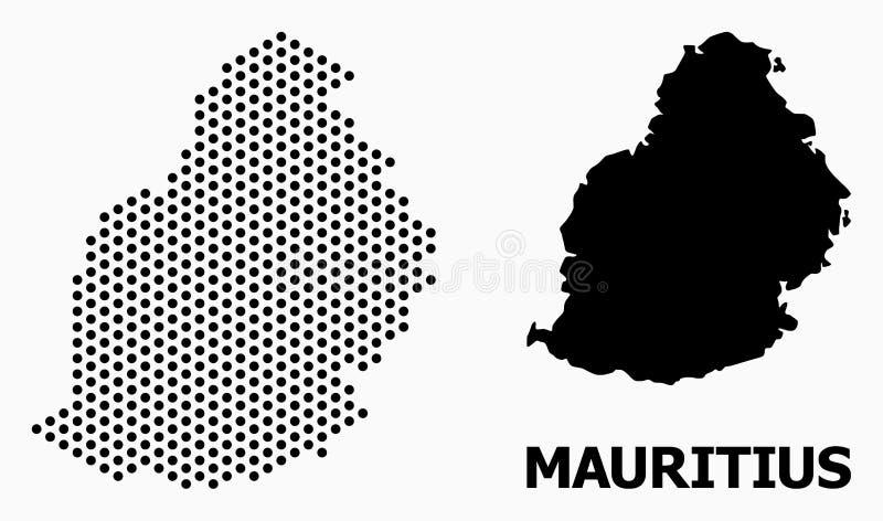 Mapa de mosaico de Pixelated de Mauritius Island ilustração royalty free