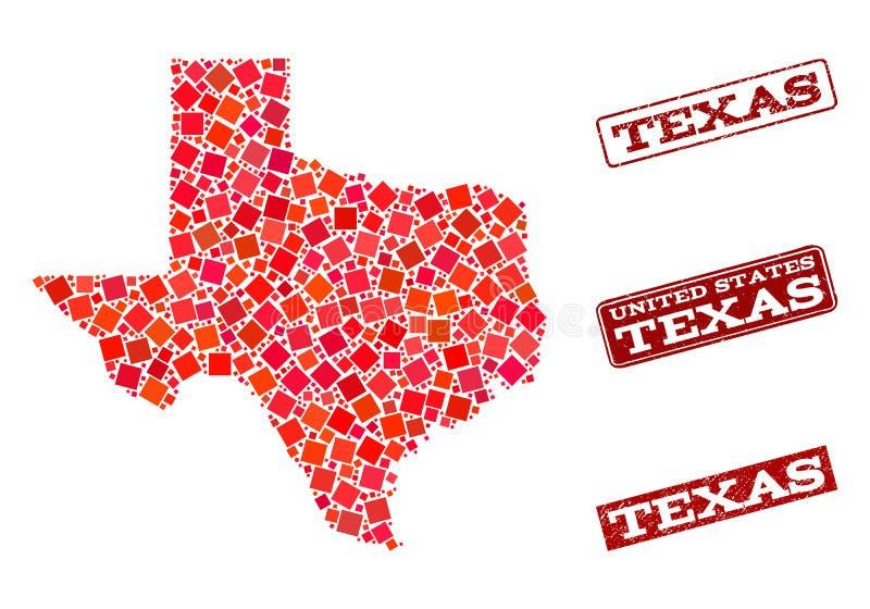 Mapa de mosaico de Texas State e para afligir a composi??o do selo da escola ilustração stock