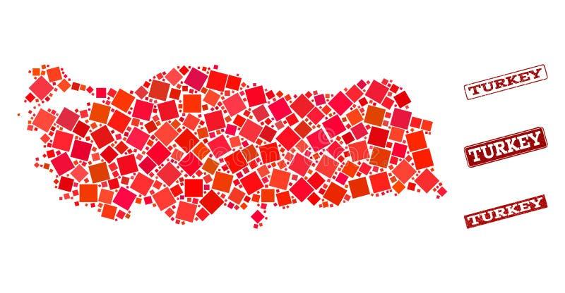Mapa de mosaico de Turquia e para afligir a composi??o do selo da escola ilustração stock