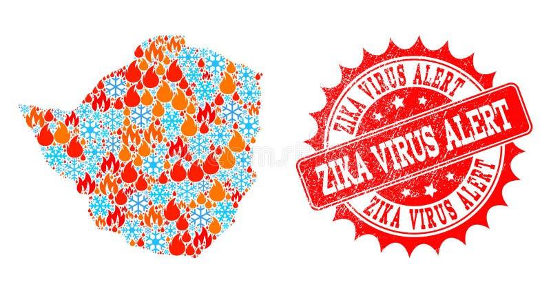 Mapa de mosaico de Zimbabwe do fogo e dos flocos de neve e do selo riscado alerta do vírus de Zika ilustração royalty free