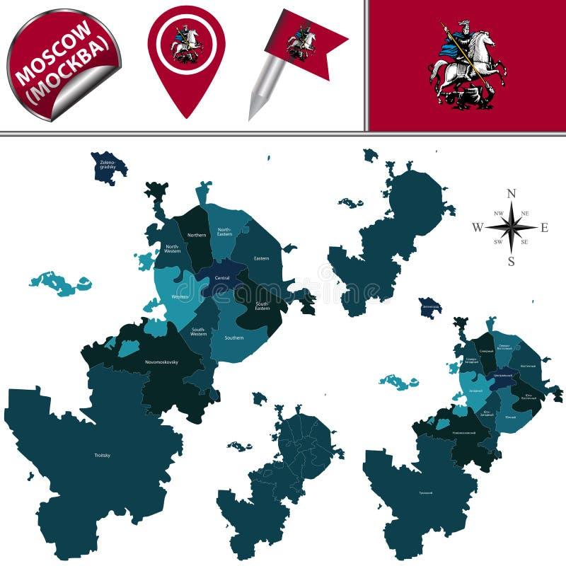 Mapa de Moscou com distritos ilustração do vetor