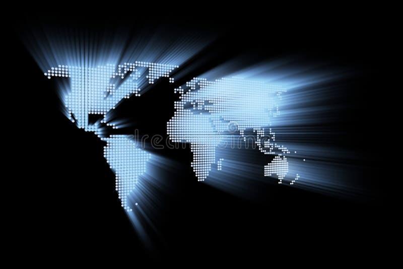 Mapa de mundo alta tecnologia de incandescência abstrato ilustração do vetor