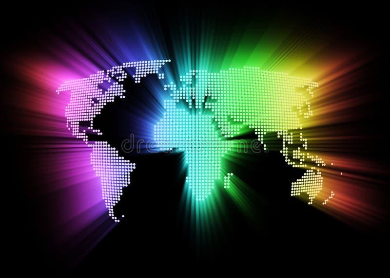 Mapa de mundo alta tecnologia de incandescência abstrato ilustração stock