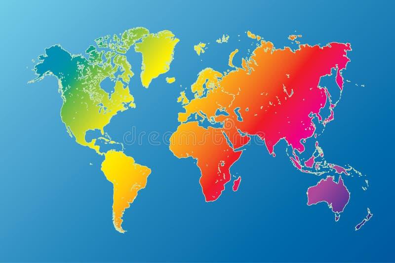 Mapa de mundo altamente detalhado do arco-íris ilustração royalty free