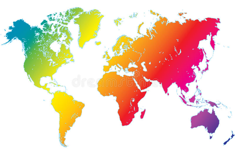 Mapa de mundo altamente detalhado do arco-íris ilustração do vetor