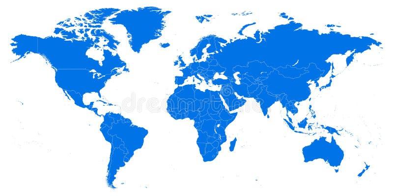 Mapa de mundo altamente detalhado ilustração do vetor, molde ilustração royalty free