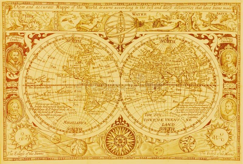 Mapa de mundo antigo imagem de stock