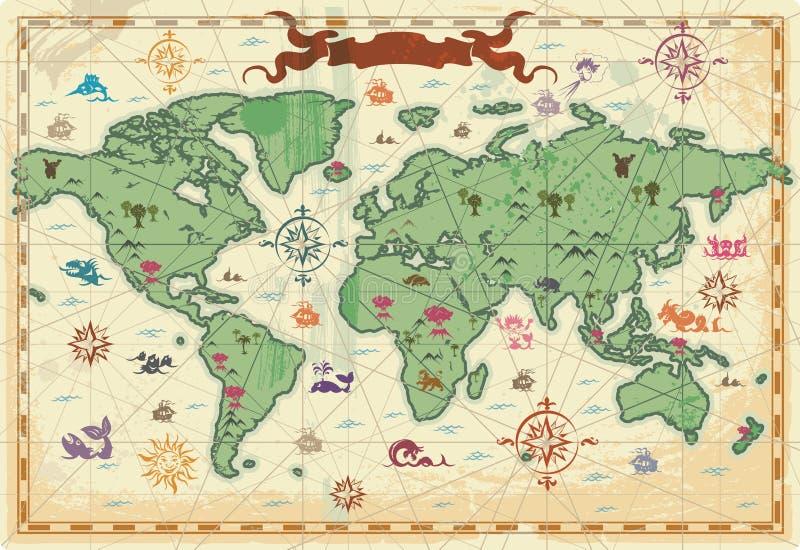 Mapa de mundo antigo colorido ilustração royalty free
