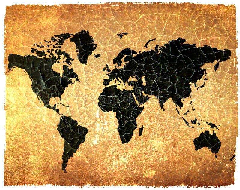 Mapa de mundo antigo em papel rachado do grunge ilustração stock