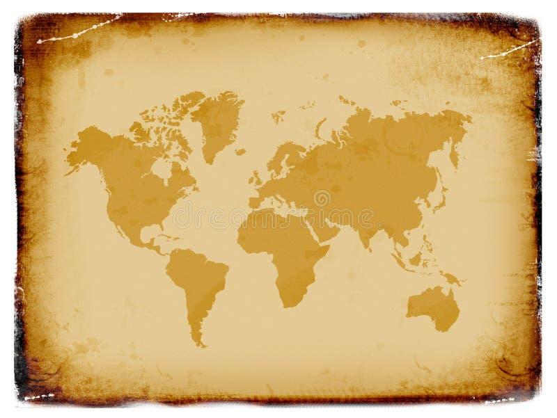 Mapa de mundo antigo, fundo do grunge ilustração do vetor