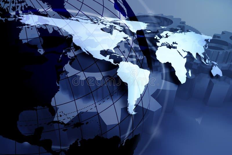 Mapa de mundo azul ilustração stock