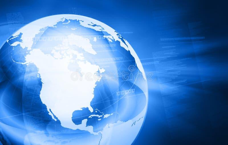 Mapa de mundo azul ilustração do vetor