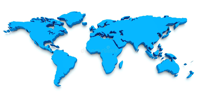 Mapa de mundo azul. 3D ilustração do vetor