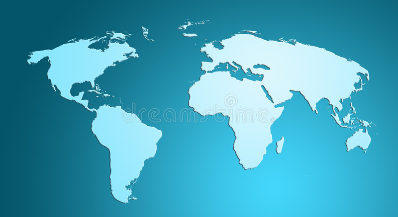 Mapa de mundo azul fotografia de stock