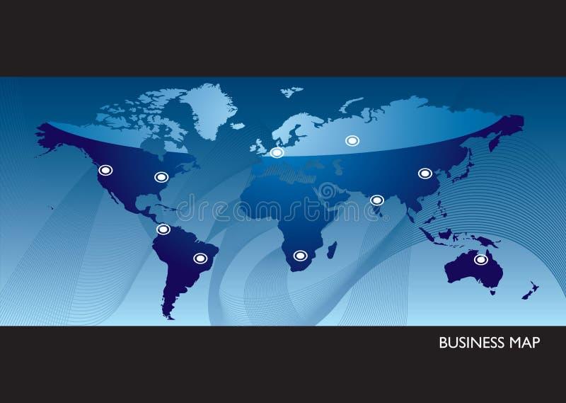 Mapa de mundo azul do negócio ilustração do vetor