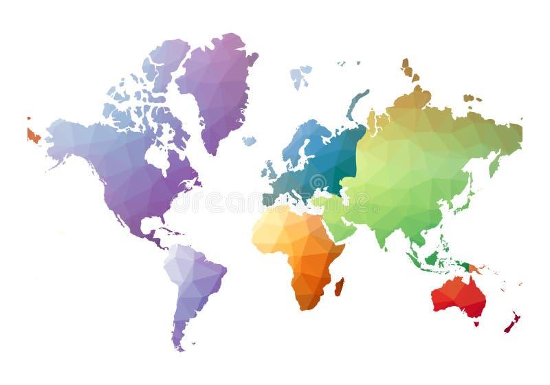Mapa de mundo Baixo estilo poli belo ilustração do vetor