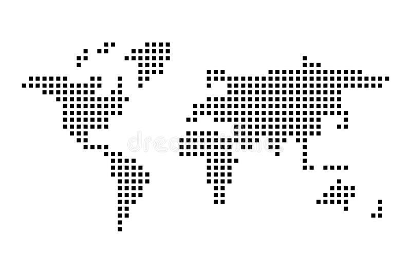 Mapa de mundo Checkered Ilustração lisa simples do vetor ilustração do vetor