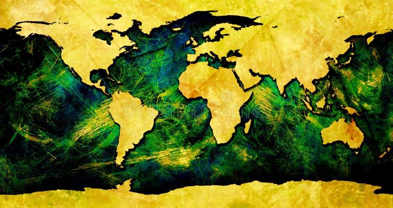 Mapa de mundo colorido ilustração stock