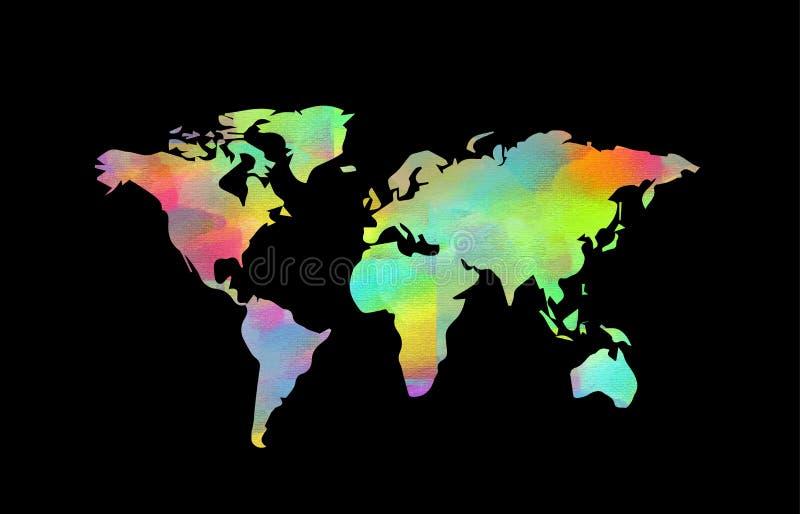 Mapa de mundo colorido ilustração royalty free