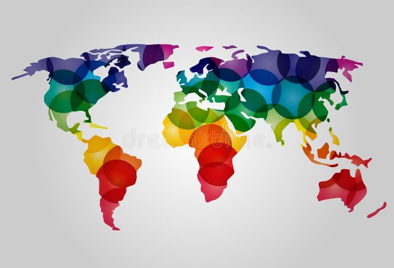 Mapa de mundo colorido abstrato ilustração royalty free