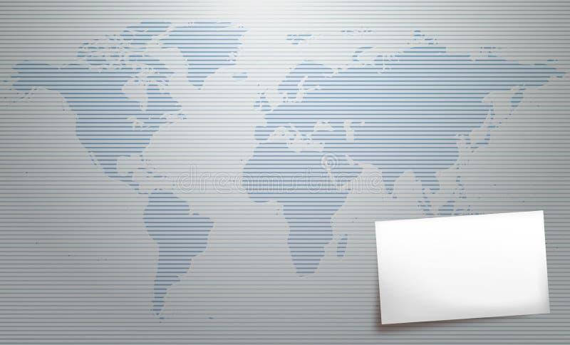 Mapa de mundo com cartão ilustração stock