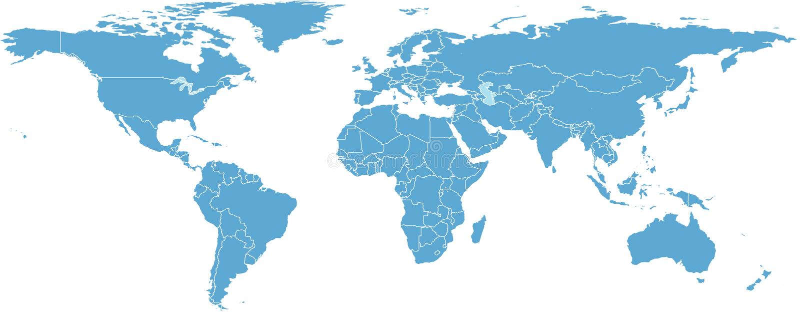 Mapa de mundo com países ilustração royalty free