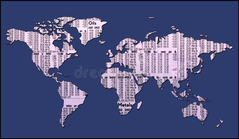 Mapa de mundo com trajeto de grampeamento ilustração royalty free