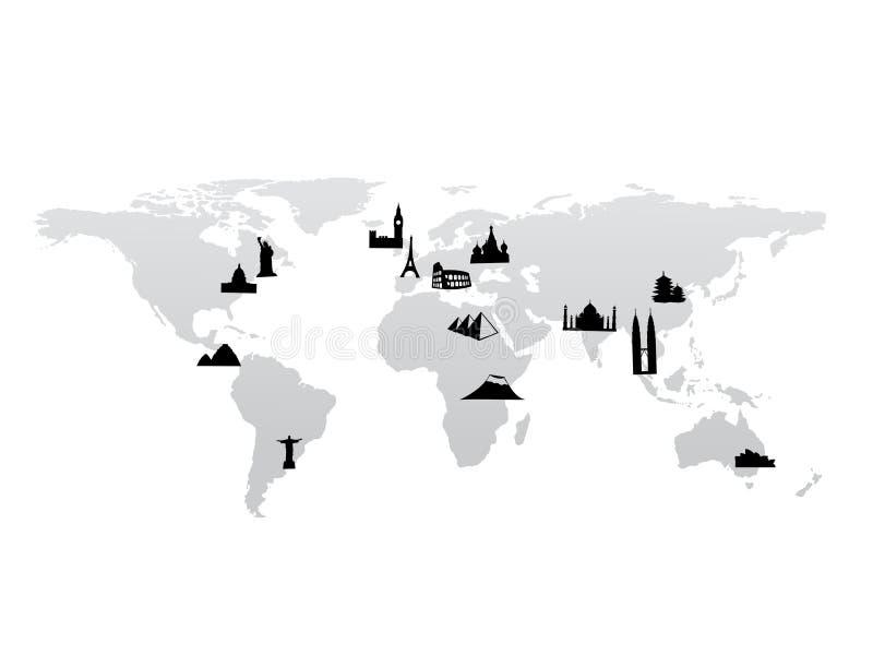 Mapa de mundo com vetor dos marcos ilustração royalty free