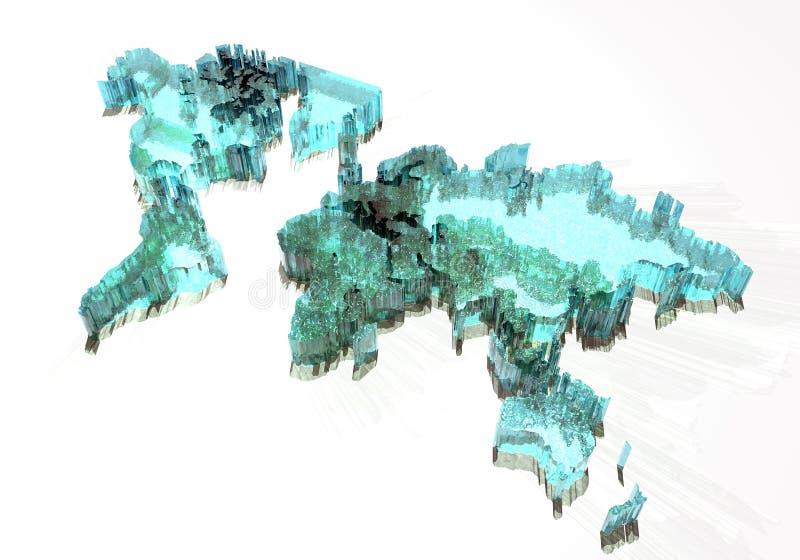 Mapa de mundo congelado e congelado fotografia de stock royalty free
