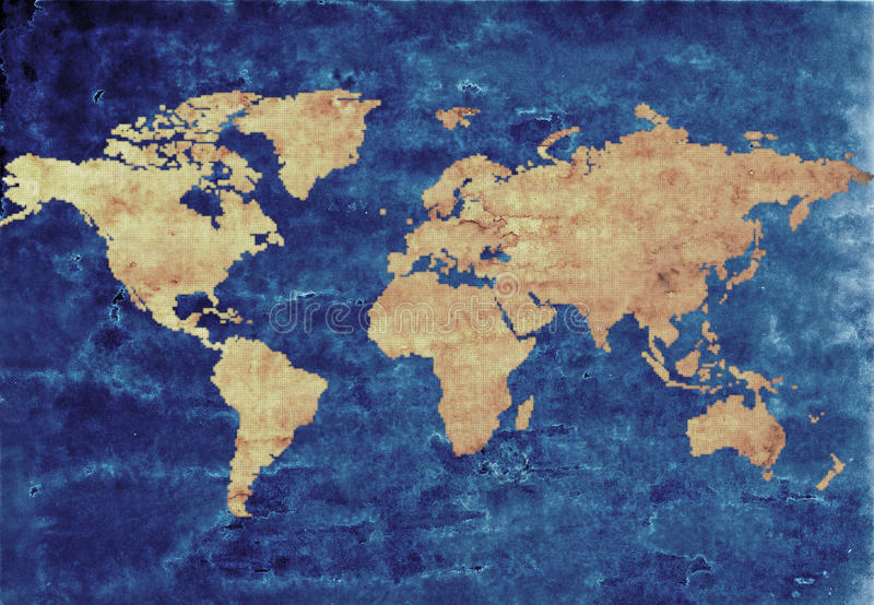 Mapa de mundo da antiguidade ilustração stock