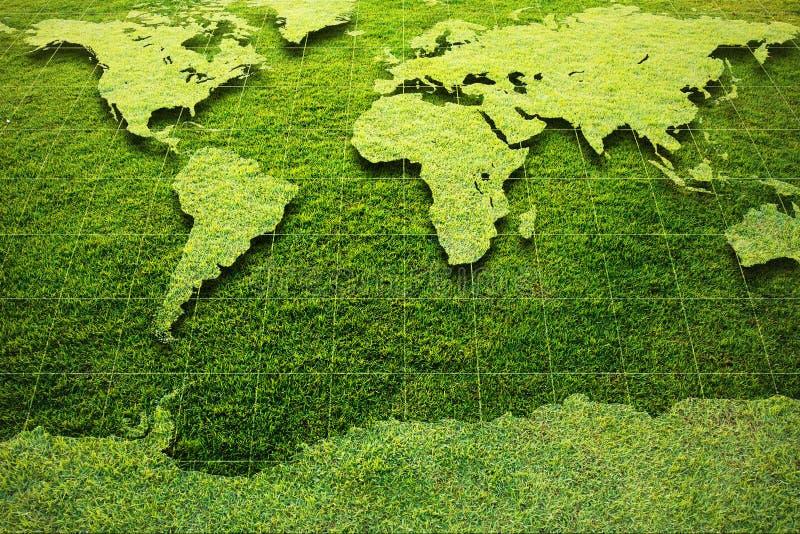 Mapa de mundo da grama verde imagens de stock