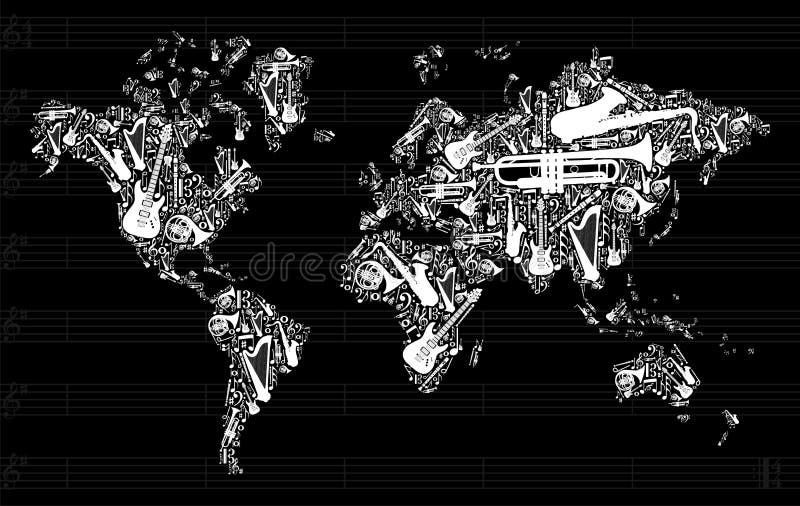 Mapa de mundo da música ilustração do vetor