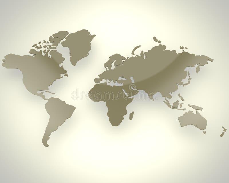 Mapa de mundo de Brown ilustração do vetor