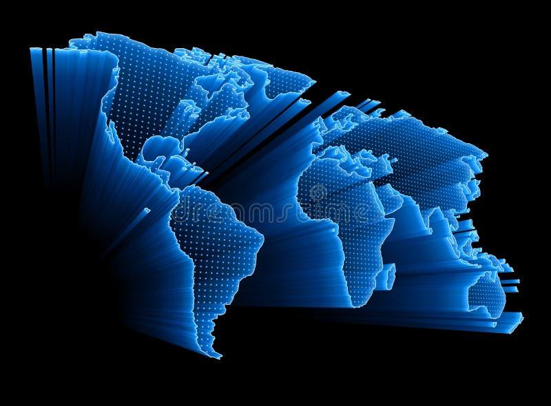 Mapa de mundo de Digitas ilustração stock