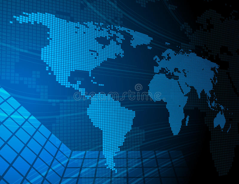 Mapa de mundo de Digitas ilustração royalty free