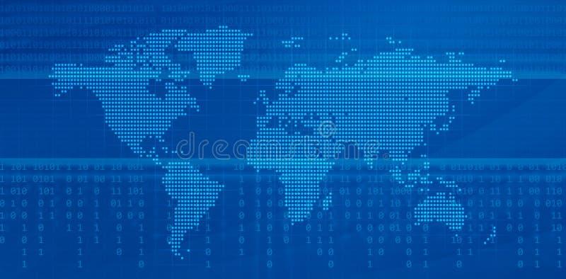 Mapa de mundo de Digitas ilustração do vetor