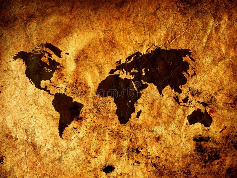 Mapa de mundo de Grunge ilustração royalty free