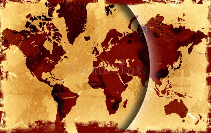 Mapa de mundo de Grunge ilustração do vetor