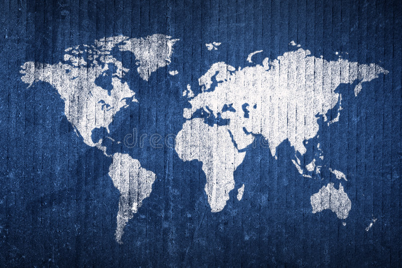 Mapa de mundo de Grunge fotografia de stock royalty free