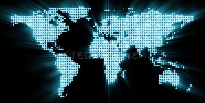 Mapa de mundo de incandescência ilustração royalty free