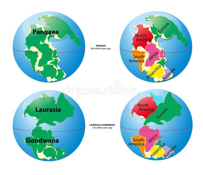 Mapa de mundo de Pangaea, Laurasia, Gondwana ilustração royalty free